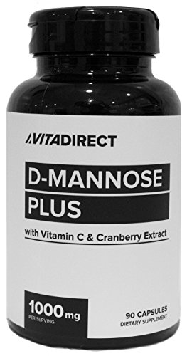 Serving 90 Capsules (VitaDirect D-Mannose 1000mg plus Vitamin C and Cranberry Extract, 45 Servings, 90 Capsules per Bottle)