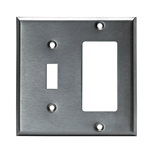 Enerlites 771131 2 Gang, Toggle and Decorator/GFCI Combo Outlet Wall Plate, Standard Size, Stainless Steel