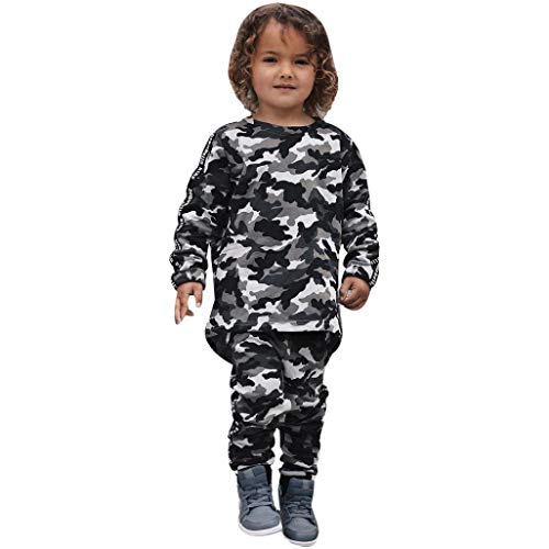 2018 Hot Sale! 1-5 Years Kids Baby Girl Boy Long Sleeve Outfits Set Camouflage T-shirt Tops+Pants Casual Sports Clothes (Camouflage, 4T)