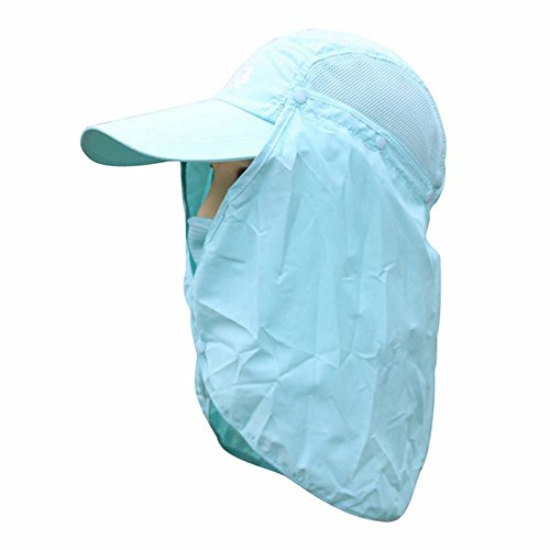 [Bolayu Camping Hiking Fishing Outdoor Face Mask Neck Cover Flap Sun Hat Cap (SkyBlue)] (Super Ray Costume)