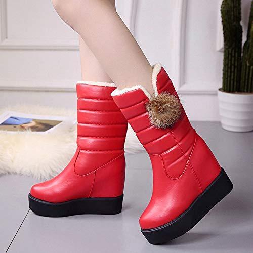 autunno stivali rotonda Vovotrade donna stivali da tiepidi neve inverno e fondo da con a Stivali Rosso punta strass in velluto nUrU0I