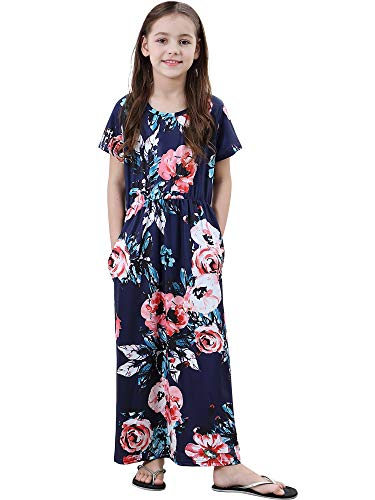 YALLET Girls Floral Maxi Dress with Pocket Short Sleeve Casual Dress for Girls 5-10T Navy Blue ()
