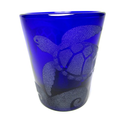 - IncisoArt Hand Etched Shot Glass Sandblasted (Sand Carved) Handmade USA Engraved Sea Turtles Waves (1, Round Cobalt Blue 1.5 Ounce)