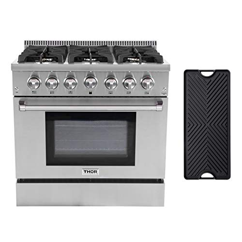 Thor Kitchen 36'' Gas Range HRG3618U with 5.2 cu.ft Convection Oven in Stainless Steel, 6 Burners & Cast Iron Grates, Cast-Iron Reversible ()