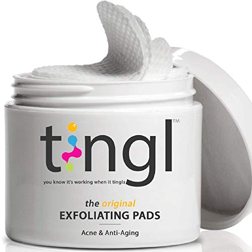 tingl Glycolic Acid Pads and Face Toner. Multi-Active Facial Exfoliator Pads with Salicylic Acid, Lactic Acid and Natural Extracts. Acne Treatment and Anti-Aging Treatment. 60 Pads
