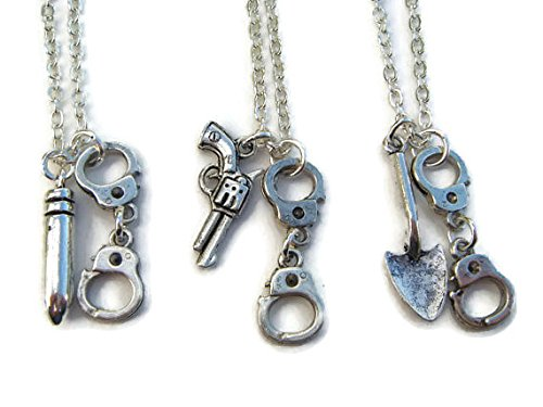3 Partners In Crime Necklaces, Best Friends Set, Friendship Necklace