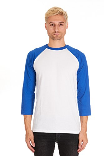 3/4 Sleeve Baseball T-Shirt (X-Large, White-Royal) ()