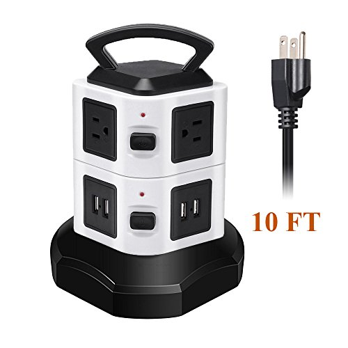 Coxtech Electric Vertical Power Strip Tower Surge Protector with 4 USB 6 AC Outlet 10 Feet Long Extension Cord Overload Protection Smart Charging Ports Station Multiple Socket Plug for Home Office PC