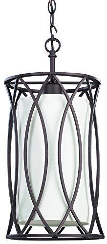 [Oil Rubbed Bronze 1 Light Mini Pendant Metal Cage Overlay with White Shade] (Bronze Single Light Foyer Fixture)