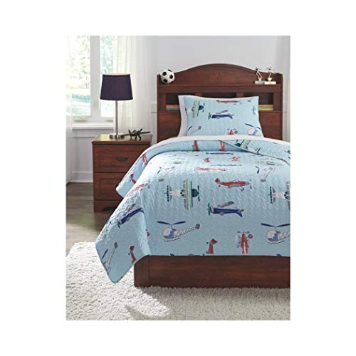 L&M 3 Piece Kids Light Blue Airplane Themed Quilt Set Full Sized, Navy Helicopter Bedding Air Planes Classic Flying Aircrafts Red White Pilot Fan Aviation, Polyester
