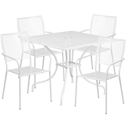 Square Back Chairs - Flash Furniture 35.5'' Square White Indoor-Outdoor Steel Patio Table Set with 4 Square Back Chairs