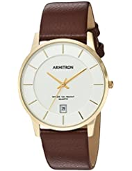 Armitron Mens 20/5190SVGPBN Date Function Dial Brown Leather Strap Watch