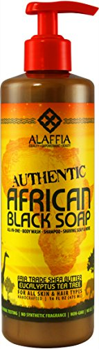 Alaffia - Authentic African Black Soap, All-in-One Body Wash, Shampoo, and Shaving Soap, All Skin and Hair Types, Fair Trade, No Parabens, Non-GMO, No SLS, Eucalyptus Tea Tree, 16 Ounces