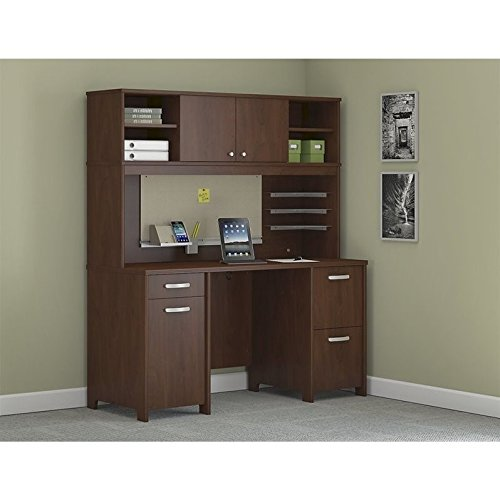 Bush Furniture Envoy Office Desk with Hutch and 2 Pedestals