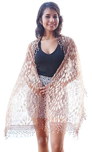 Women's lightweight Feminine lace teardrop fringe Lace Scarf Vintage Scarf Mesh Crochet Tassel Cotton Scarf for Women,One Size,Brown 21