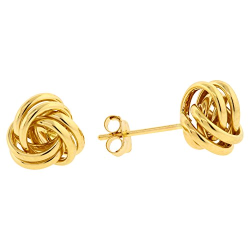14k Yellow Gold Polished Love Knot Stud Earrings 7, 9, 11 MM (7 Millimeters) -
