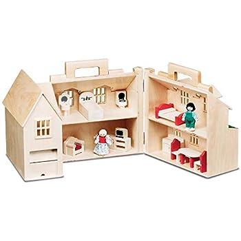 Amazon Com Melissa Doug Fold Go Mini Dollhouse