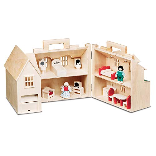 Melissa & Doug Fold & Go Dollhouse (Portable Wooden Dollhouse, Features Working Doors, Sturdy Carrying Handles, Great Gift for Girls and Boys - Best for 3, 4, 5, and 6 Year Olds) (Best Wooden Dollhouse For Toddler)