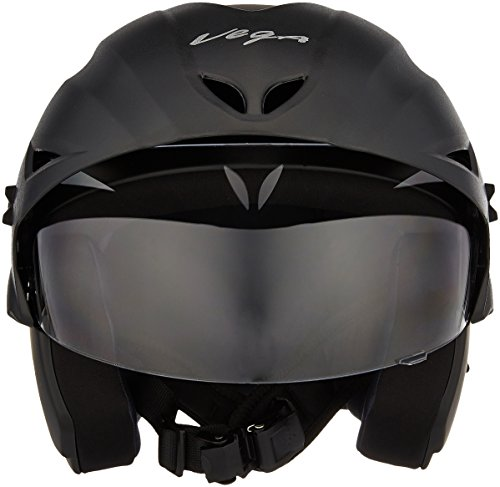 Vega Cruiser CR-W/P-DK-M Open Face Helmet with Peak (Dull Black, M) 5