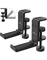 $21 » APPHOME 2 Pack Foldable Headphone Stand Hanger Holder Aluminum Headphones Headset Clamp Hook Under Desk Space Save Mount Fold Upward Not in Use, Universal Fit All Headphones, Black