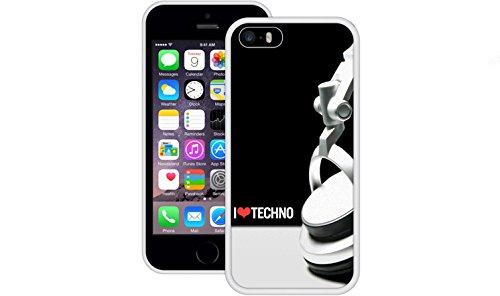 Ich liebe Techno | Handgefertigt | iPhone 5 5s SE | Weiß TPU Hülle