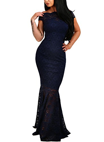 Elapsy Womens Sexy Off Shoulder Short Sleeve Bardot Lace Evening Gown Fishtail Maxi Dress Navy X-Large