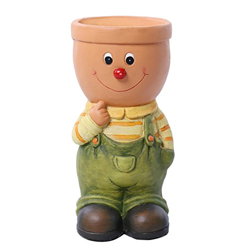 Garden Gnome Statues Flower Pots, 12.8 Inch Tall Green Boy Head Planters for Indoor and Outdoor Decor, CLEARANCE SALE