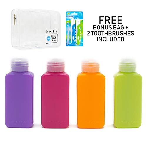 Lingito Travel Bottles, Leak Proof Refillable, TSA Carry-On Approved, Travel Size Containers. Bonus Toothbrush and Clear Bag