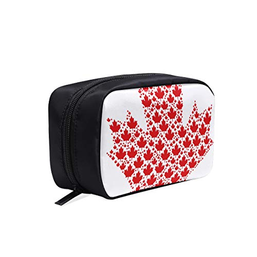 - Colorful Red Vintage Maple Leaves Portable Travel Makeup Cosmetic Bags Organizer Multifunction Case Small Toiletry Bags For Women And Men Brushes Case