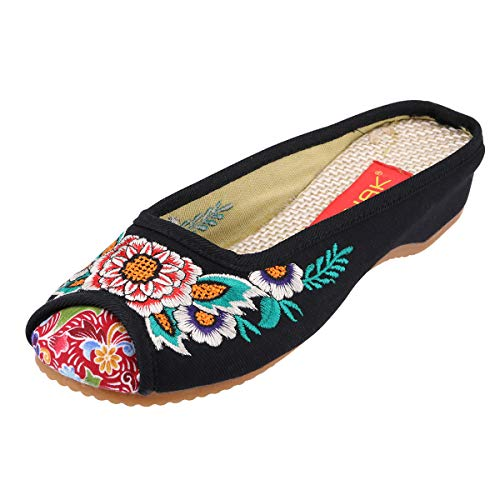 (CINAK Embroidery Flats Slippers Flower- Casual Slip-ons Comfortable Loafer Chinese Embroidered Shoes Ballet Flats(6.5-7 B(M) US/UK4.5-5/EU37/CN38/24CM,Black))
