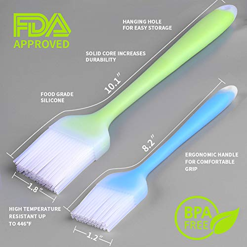 BBQ Pastry Brush for Grilling Barbecue Kitchen Heat Resistant Dishwasher Safe for Oil Baking Spread Butter Sauce Meat Marinades 2 Sets of Silicone Basting Brush