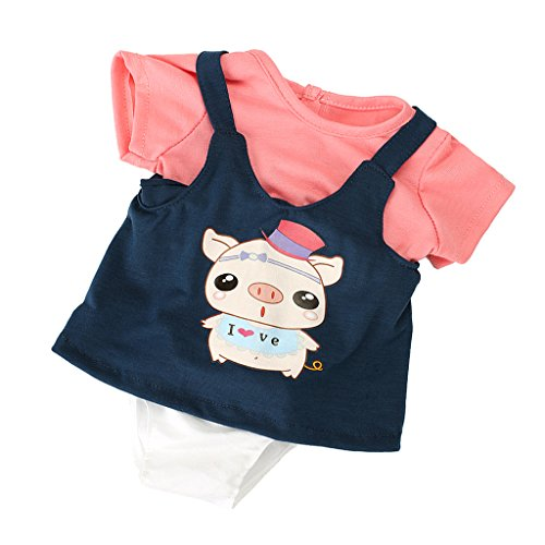 MagiDeal Pink T-shirt Shoulder Strap Dress Hat Outfit for 17inch Zapf Baby Born Dolls