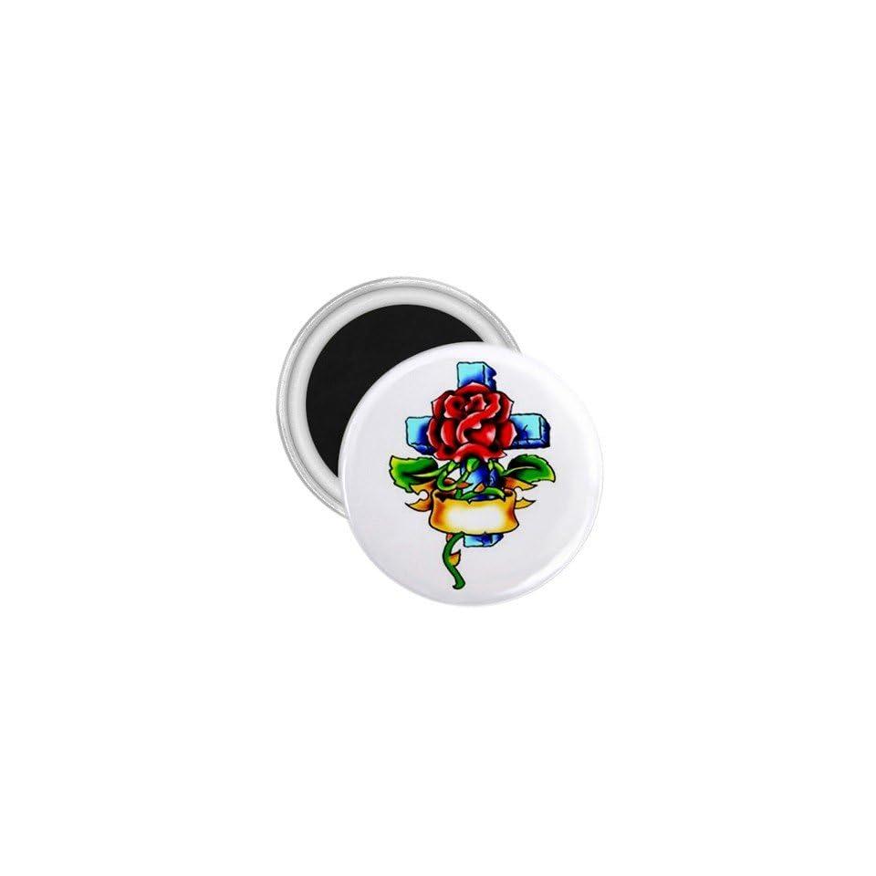 Tattoo Cross Flower Art Fridge Souvenir Magnet 2.25
