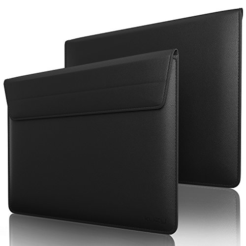 Kuzy - BLACK Leather Sleeve Case for MacBook Pro 15