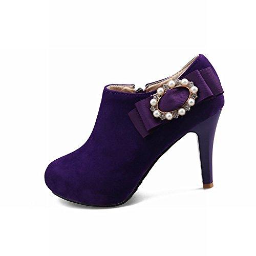 MissSaSa Damen high heel Schleife Plateau Pumps mit Reißverschluss Violett