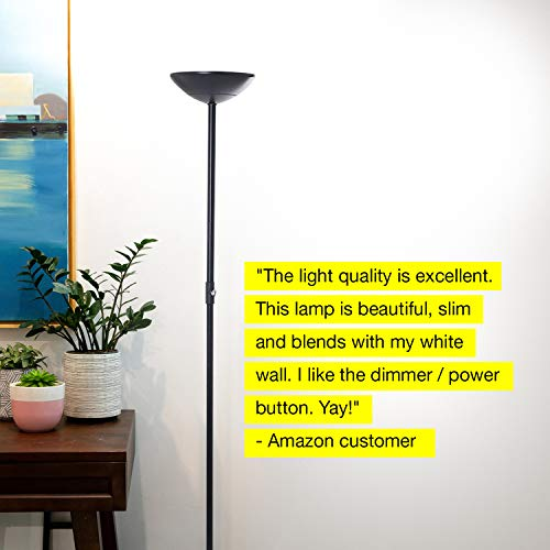 Brightech SkyLite - Bright LED Torchiere Floor Lamp for Offices – Modern, Dimmable Reading Light for Living Rooms & Bedrooms - Tall Standing Pole Light - Jet Black by Brightech (Image #6)