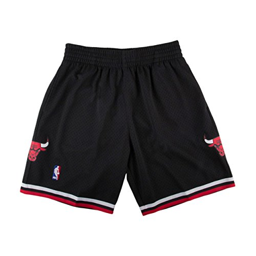 Mitchell & Ness Mens Bulls Swingman Shorts Black/Red Size M from Mitchell & Ness