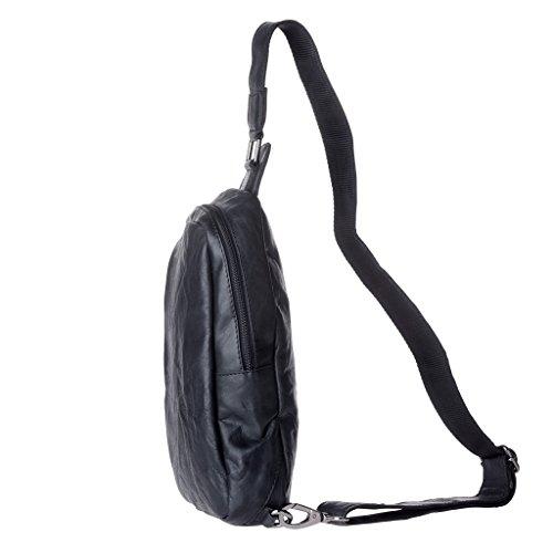Zaino monospalla uomo in Vera Pelle stropicciata Tasca frontale Zip e tracolla regolabile DUDU Nero