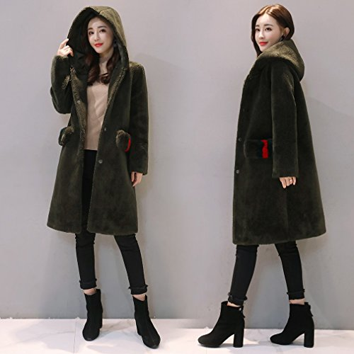 Color WYF 'S Women Winter Plush Jacket Shaped Pure Pocket Removable A Coat ArmyGreen Fashion Hooded rrz1nq