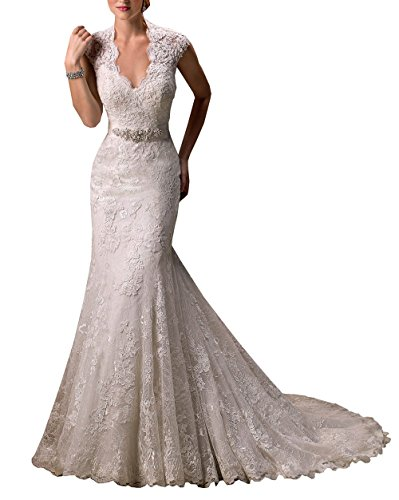 M Bridal Women's Cap Sleeve V-neck Appliques Lace Long Mermaid Wedding Dress Ivory Size 8