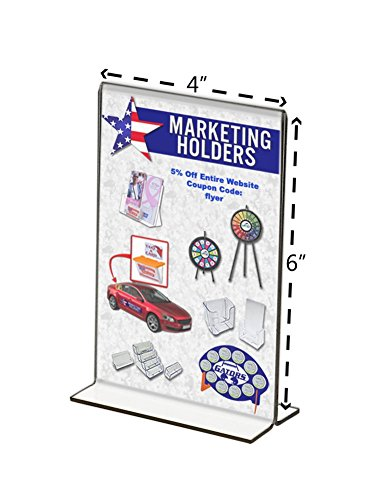 Marketing Holders Sign Holder 4x6 Acrylic Table Top Bottom Loading Sold in Lots of 25 by Marketing Holders