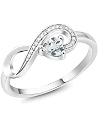 10K White Gold 0.28 Ct Heart Shape Sky Blue Aquamarine Diamond Infinity Ring (Available in size 5, 6, 7, 8, 9)