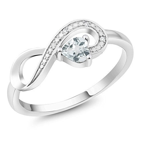 Gem Stone King 10K White Gold Sky Blue Aquamarine and Diamond Women's Infinity Ring 0.28 Ct Heart Shape (Size 9)