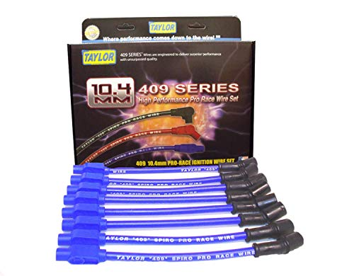 Taylor Cable 79605 409 Pro Race; Ignition Wire Set; Custom Fit; Spiral Wound Core; 10.4mm Dia.; Blue;
