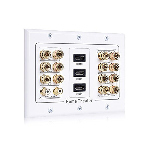 (Cable Matters Triple Gang 7.2 Speaker Wall Plate with HDMI (Home Theater Wall Plate, Banana Plug Wall Plate) in White)