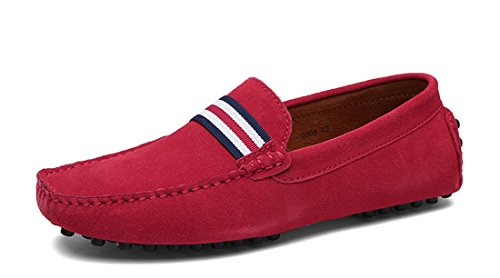 TDA Mens British Comfort Stripes Suede Driving Loafers Boat Shoes Red MBboO