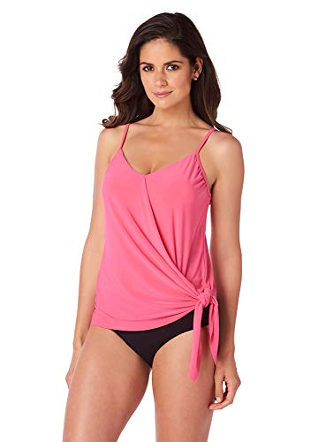 (Magicsuit Women's Swimwear Solid Alex V-Neck Tankini Top with Underwire Bra and Adjustable Straps, Watermelon, 08)