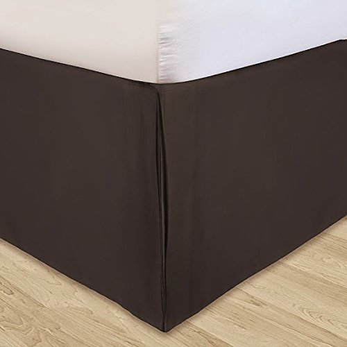 (Ethereal Bedding 300-TC Sateen Combo 4-PC Luxury Duvet Cover Set & Split Corner Tailered Bed Skirt Twin Solid Chocolate 15'' Inches Drop Length 100% Egyptian Cotton)