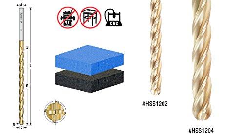 Amana Tool HSS1204 Foam Cutting Ball End 1/2 D x 1/4 R x 6 CH x 1/2 SHK x 8 Inch Long Extended Reach CNC High Speed Steel (HSS) TiN Coated 4-Flute Spiral Up-Cut Router Bit