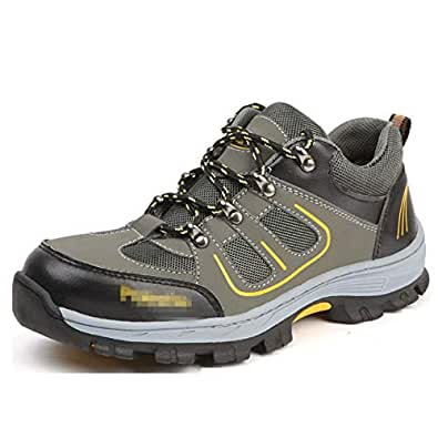 SHANLEE Labor Insurance Shoes Men's Breathable Work Shoes Non-Slip Hiking Shoes(Green 35/4.5 B(M) US Women/2.5 D(M) US Men)